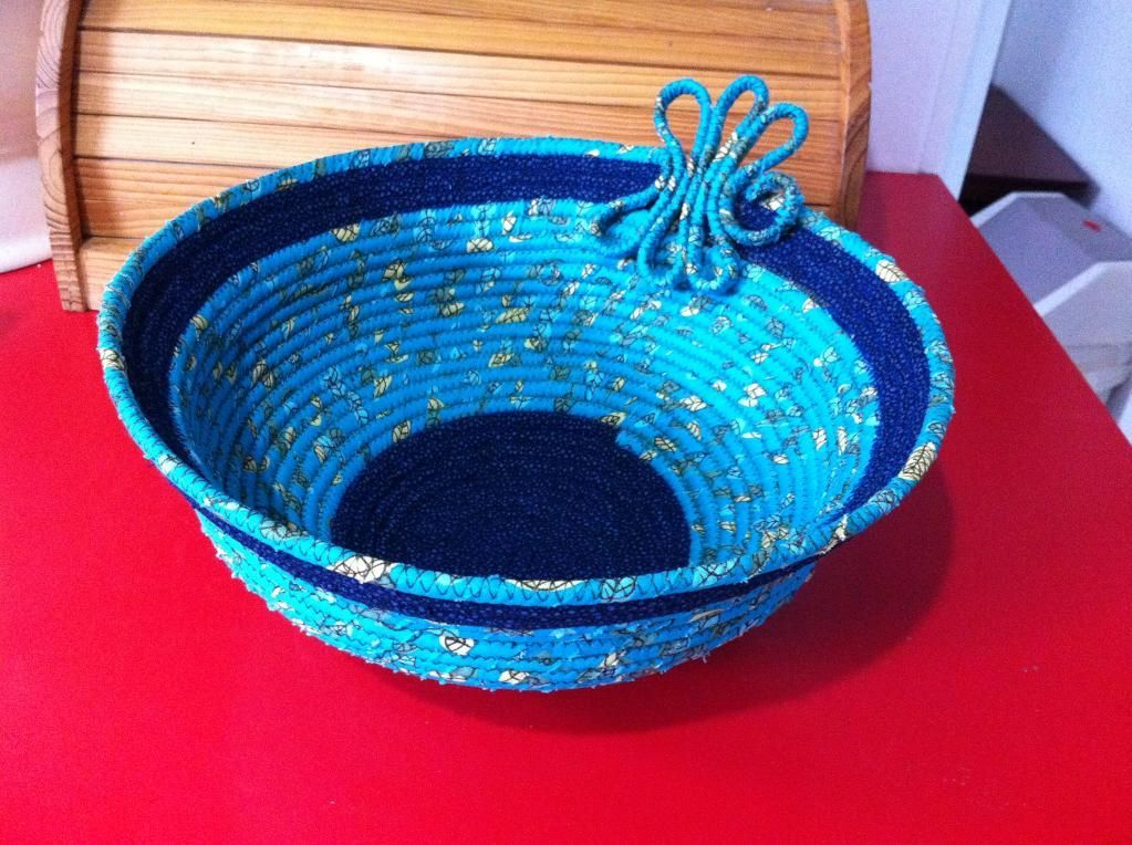Embroidered quilted Basket Bowl reversible.
