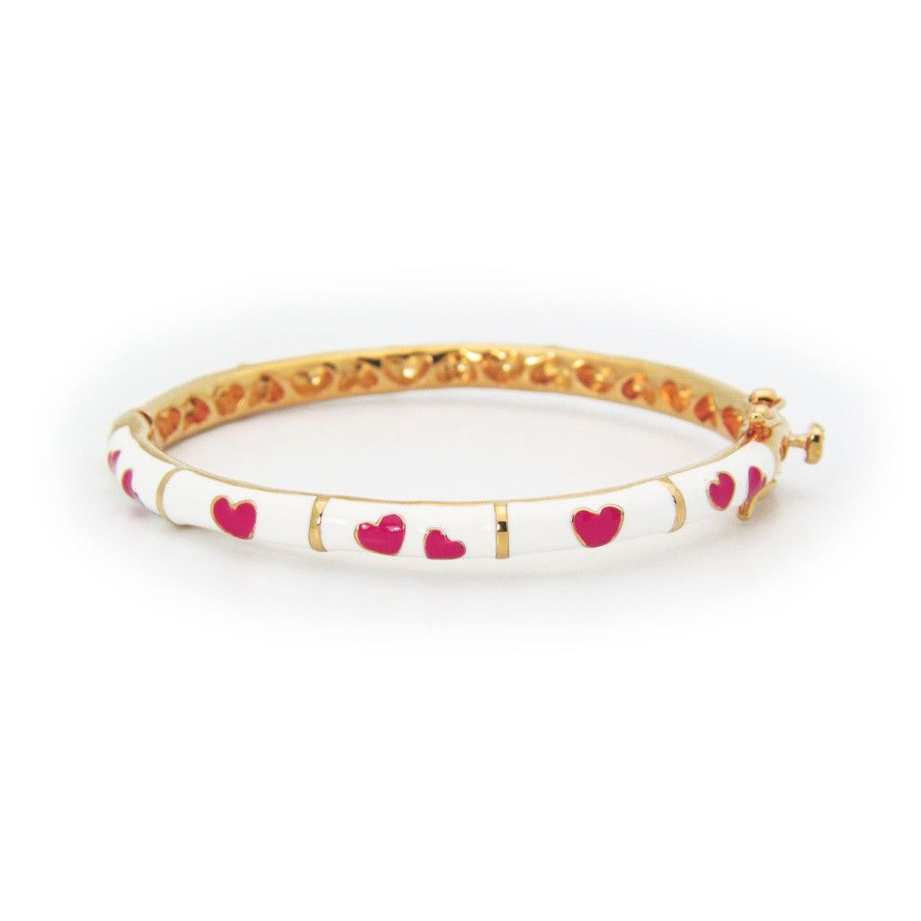 Beckids enamel girls bracelets with red heart engravings kt gold