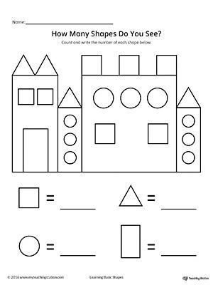 Recognize and count the shapes in the castle eli for Shape tracing templates