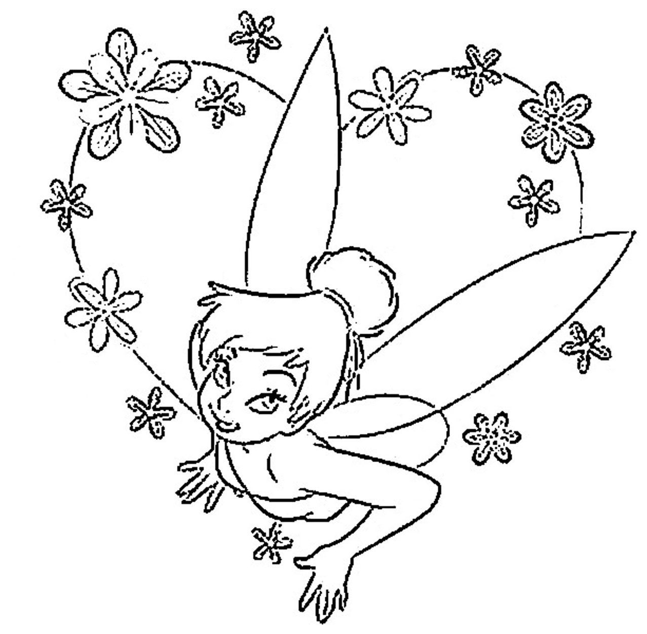 Coloring Tinkerbell Pink Flowers Disney Princess Coloring Pages Tinkerbell Coloring Pages Princess Coloring Pages Free Printable Coloring Pages