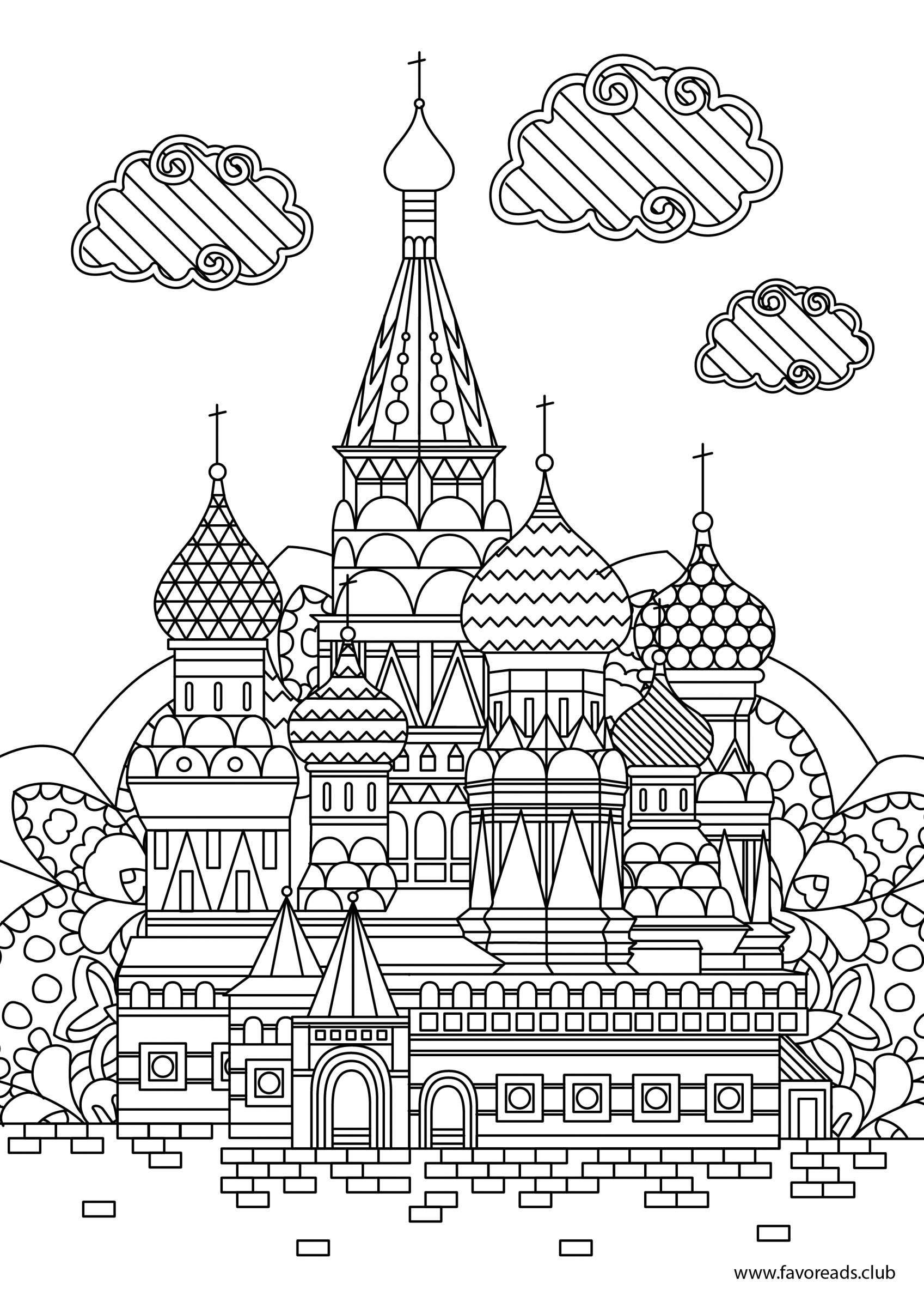 Coloring book landmark for adults - Explore Adult Coloring Moscow And More