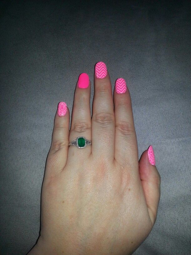 Neon pink nail polish, clear romance, white chevron jamberry ...