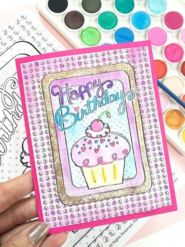 Diy Coloring Birthday Card Diy Birthday Cards Birthdays And Diy