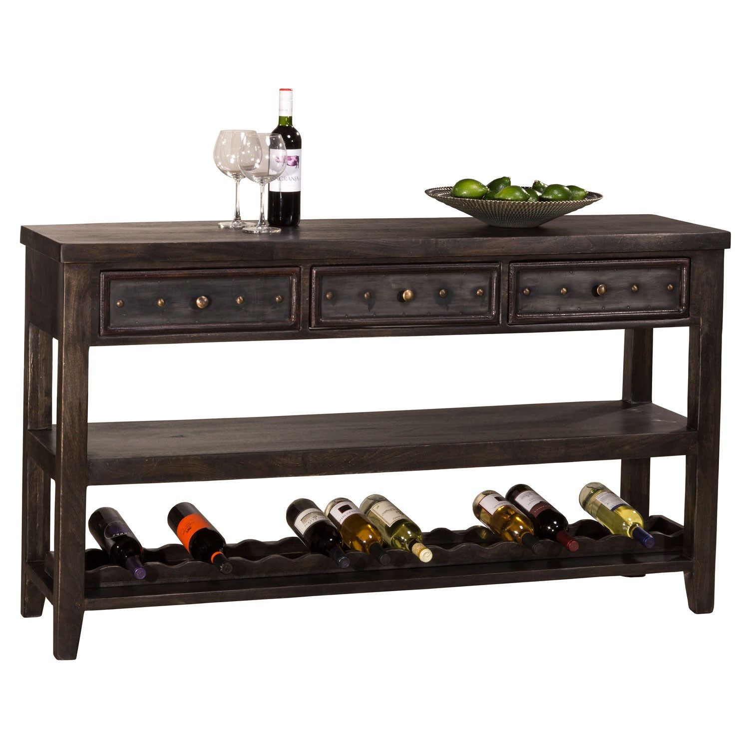 Hillsdale Furniture 5805 871 Bolt Sofa Table With Wine Rack Home