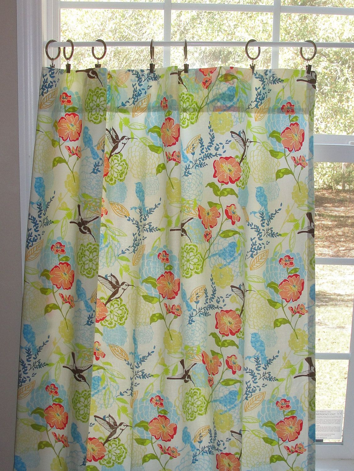 Cafe Curtain Set 80 Wide Humming Birds And Flowers By Alexander