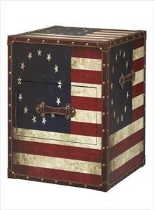 Superbe Linon Home Decor Trunks Vintage American Flag Square Storage Trunk