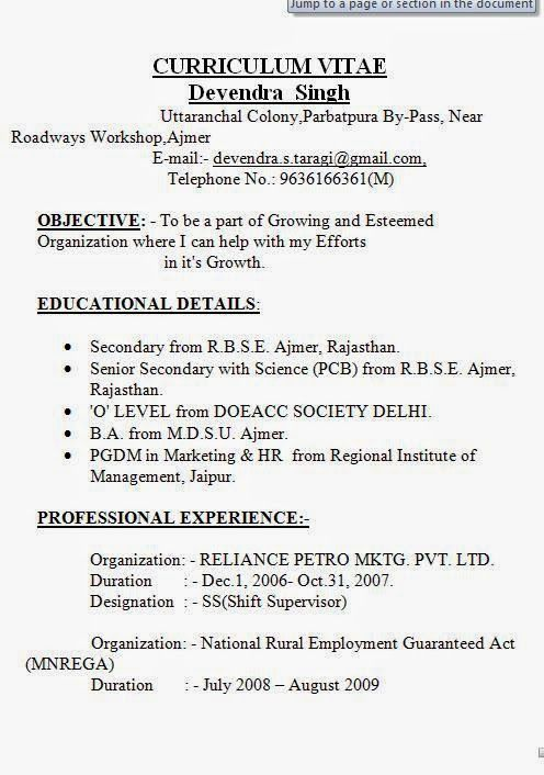a cv example Sample Template Example ofExcellent Curriculum Vitae - How To Write A Vitae Resume