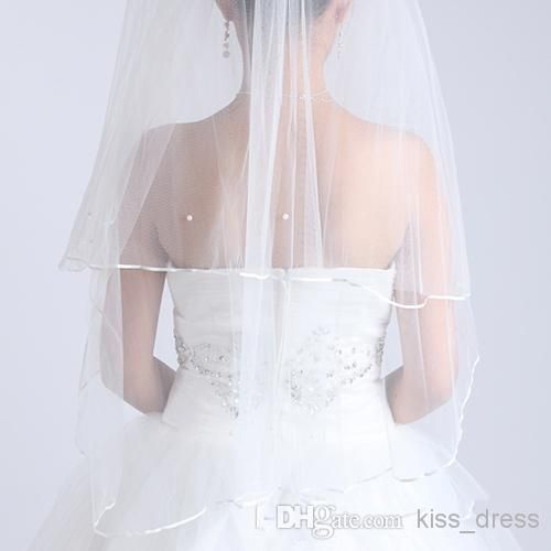 Chepest White Ivory Two Layers Short Wedding Veils With Satin Edge Pearls USA Soft Tulle Online with $2.62/Piece on Kiss_dress's Store | DHgate.com