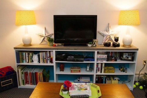 30 Genius Ideas For Repurposing Old Bookcases Into Exciting New Things Bookshelves Diy Bookshelves With Tv Tv Stand Bookshelf Tv stand with matching bookcases