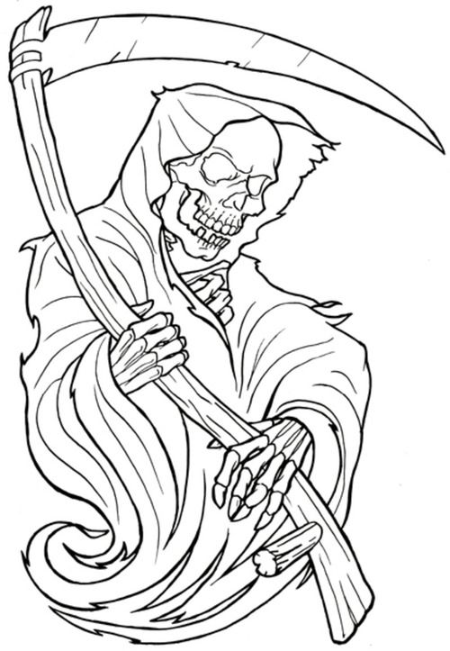 Awesome Skull Coloring Pages For Adults Skull Tattoo Coloring Pages Pictures Photos Images Tattoo Stencil Outline Grim Reaper Tattoo Reaper Tattoo