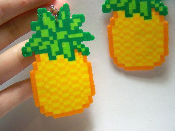 Pineapple Perler Dangle Earrings Cute Kawaii Fruit