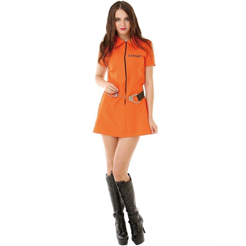 intimate inmate women's halloween costume orange black jailbird