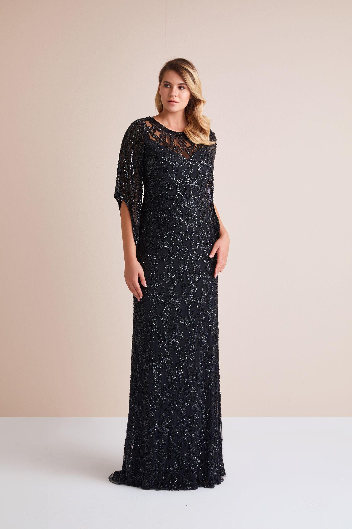 Siyah Uzun Kollu Payetli Abiye Elbise En Sik Buyuk Beden Abiye Modellerini Oleg Cassini Koleksiyonunda Kesfedin Plussize Evening The Dress Elbise Elbiseler