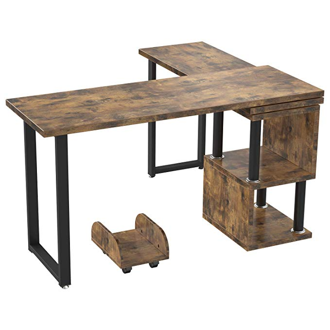 Amazon Com Ironck Industrial L Shaped Desk Computer 360 Degree Free Rotated Corner Desk Computer Table With Shelf An In 2020 Computer Table L Shaped Desk Corner Desk