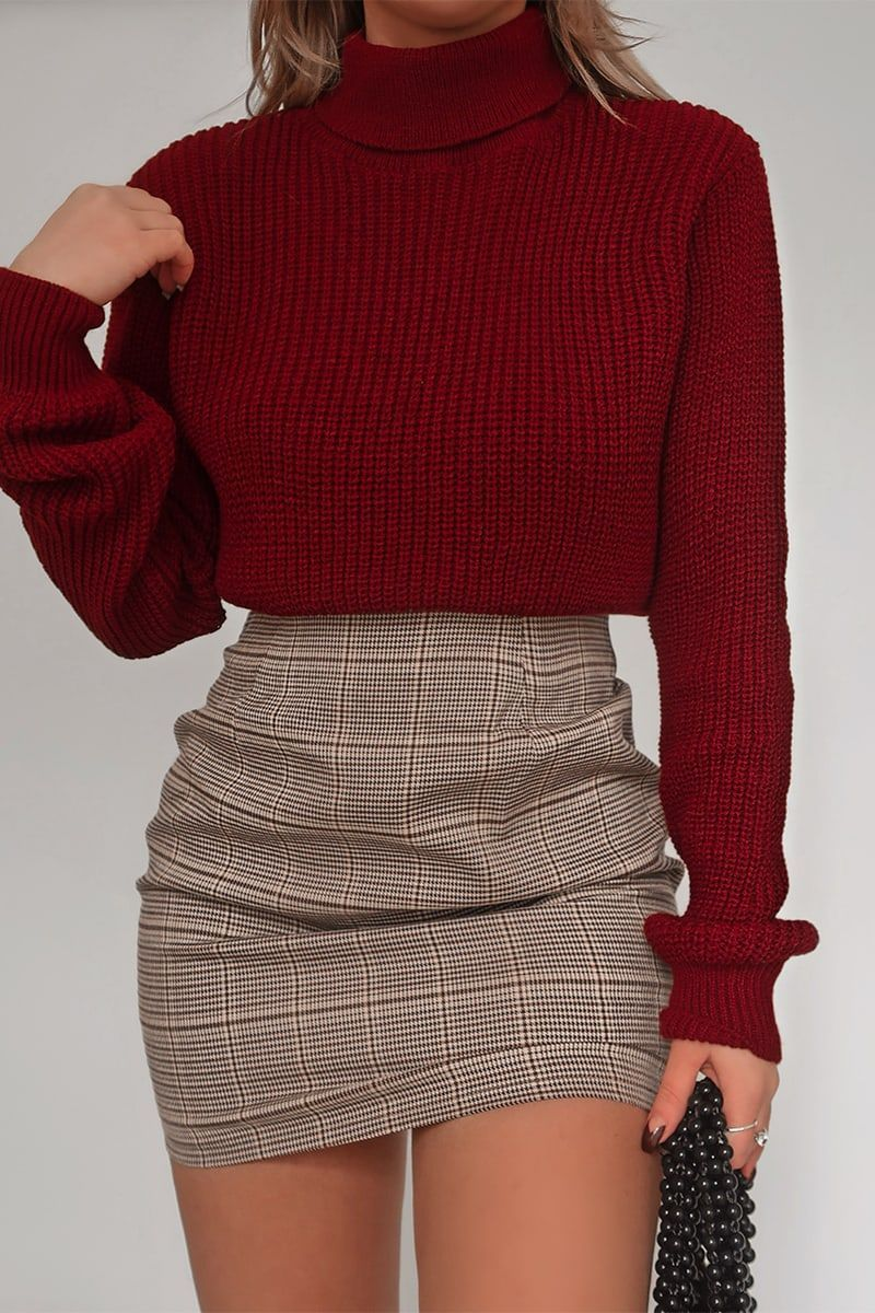 Fashion influx brown heritage check mini skirt