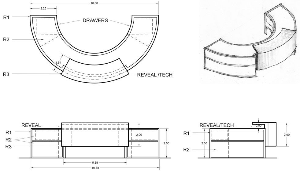 Modern Reception Desk Counter Office Cad Drawing Bespoke Furniture