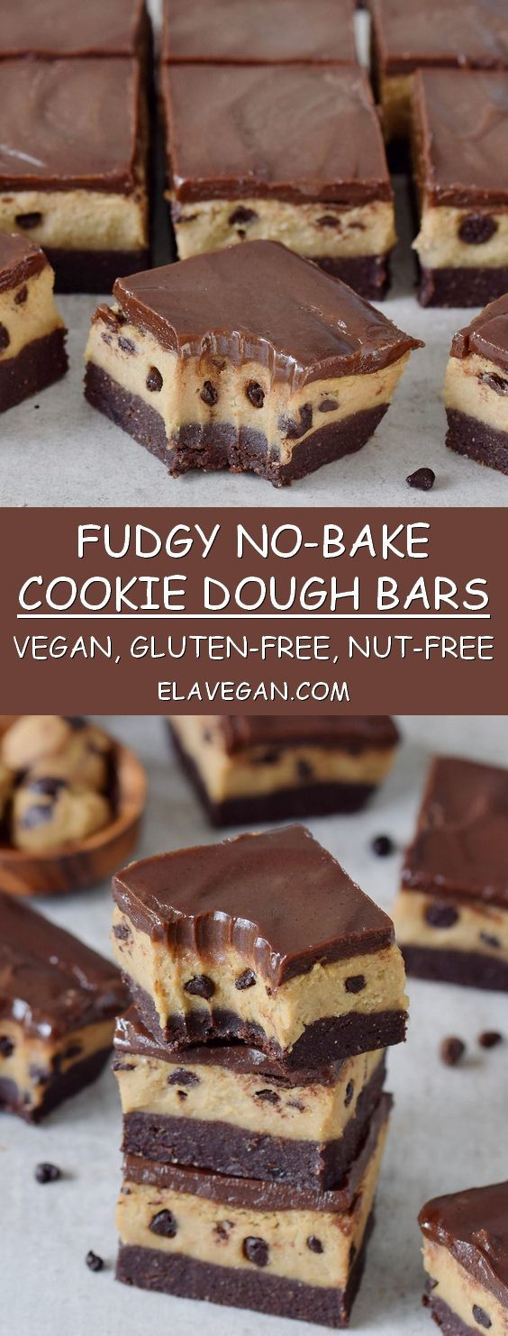 Zuckerfreie Desserts No Bake Cookie Dough Bars With Chocolate Vegan Gluten
