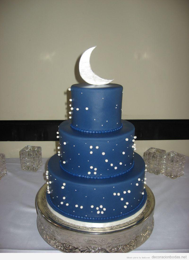 Pastel de boda con luna y estrellas | Doğum Günü Pastası ...