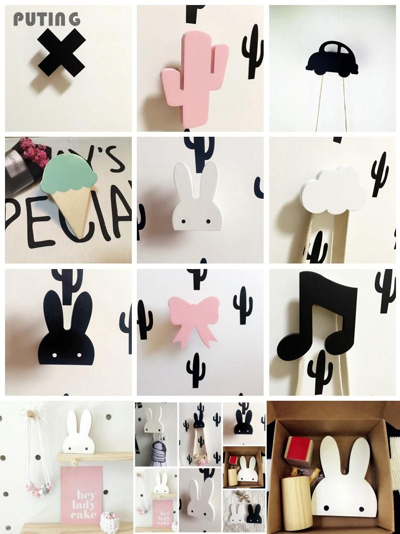 [Visit to Buy] Cute Bunny Wooden Clothes Hook For Kids Room Wall Decorate Children Room Eco Friendly Flamingo Hanger Hook GPD8089 #Advertisement