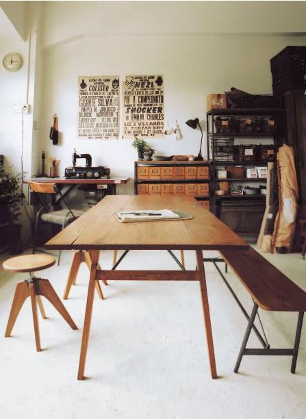 Selency material matière wood bois table wood chair chaise en bois salle à manger dinning room