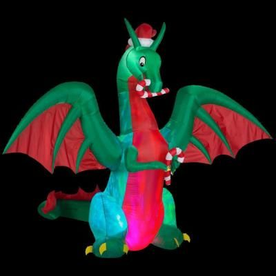 Gemmy 9 ft h inflatable holiday dragon 38088 the home for Home depot inflatable christmas decorations