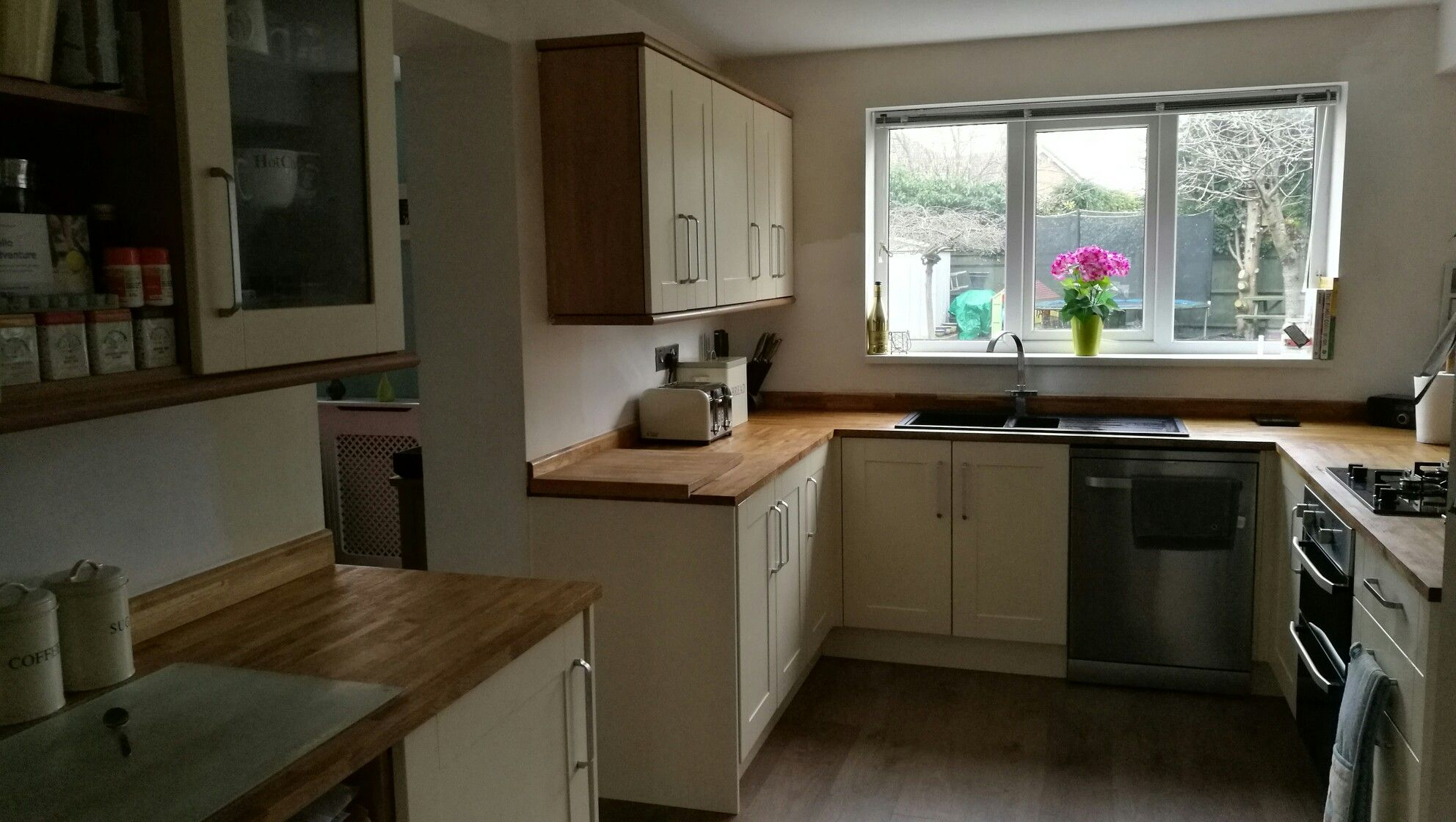 Burford cream (howdens) and solid oak worktops (wickes