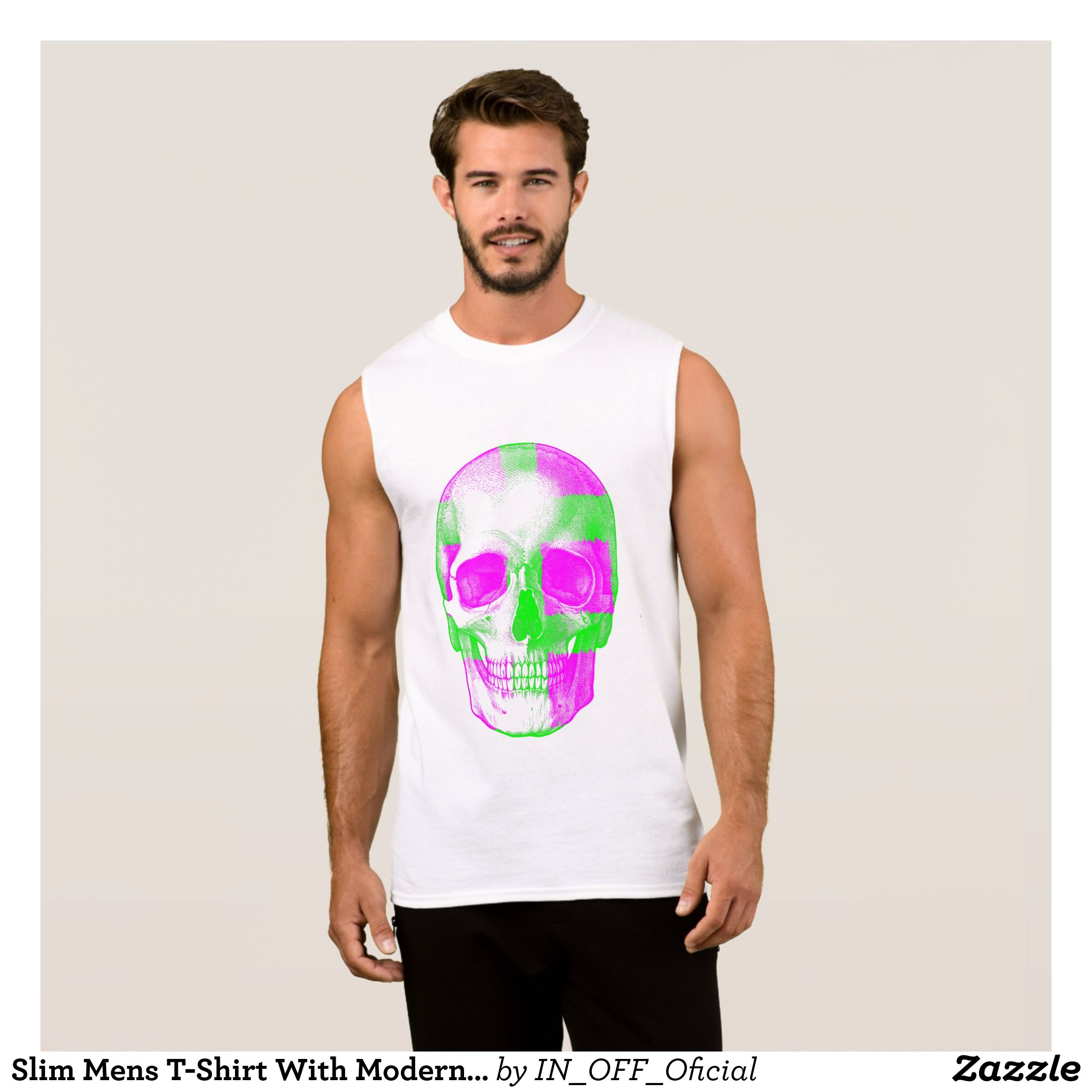44e2f230e62951 Slim Mens T-Shirt With Modern Print SKULL - Comfy Moisture-Wicking Sport Tank  Tops By Talented Fashion   Graphic Designers -  tanktops  gym  exercise ...