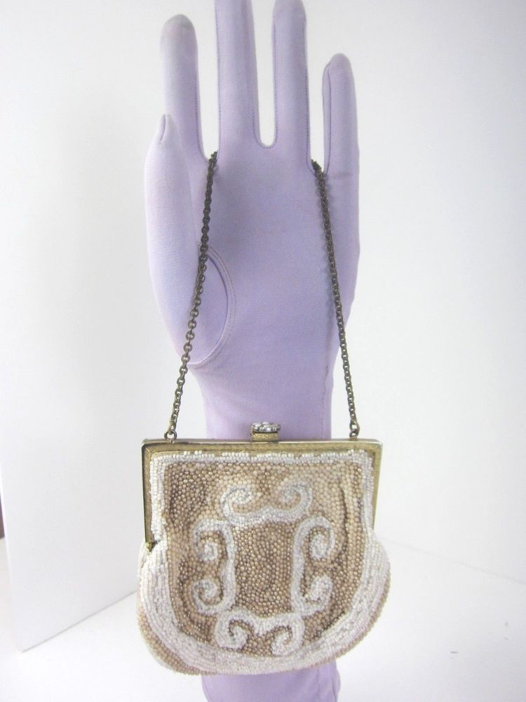 "Antique Vintage Micro Beaded Small Evening Purse 4x4"" Pearls Wristlet White/Tan, www.Connectibles.net"