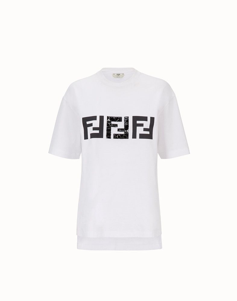FENDI T-SHIRT - White cotton T-shirt - view 1 detail   ocd ... 5ba54ed2d2f
