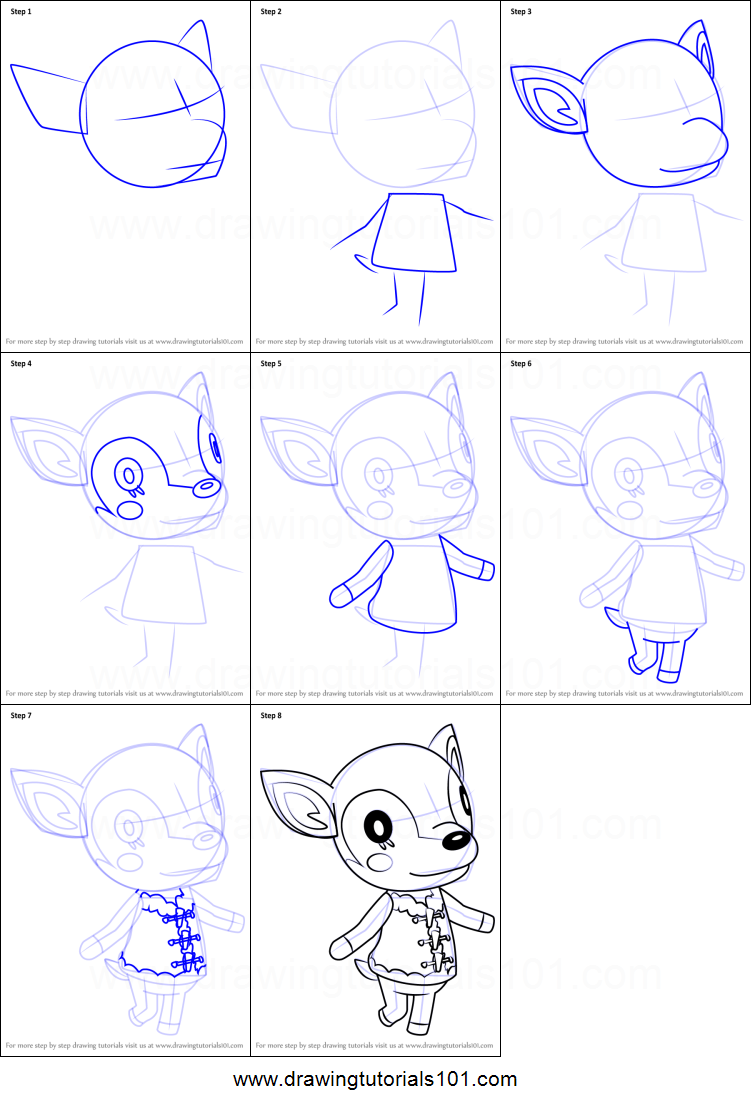 How to Draw Fauna from Animal Crossing Printable Drawing Sheet by DrawingTutorials101.com