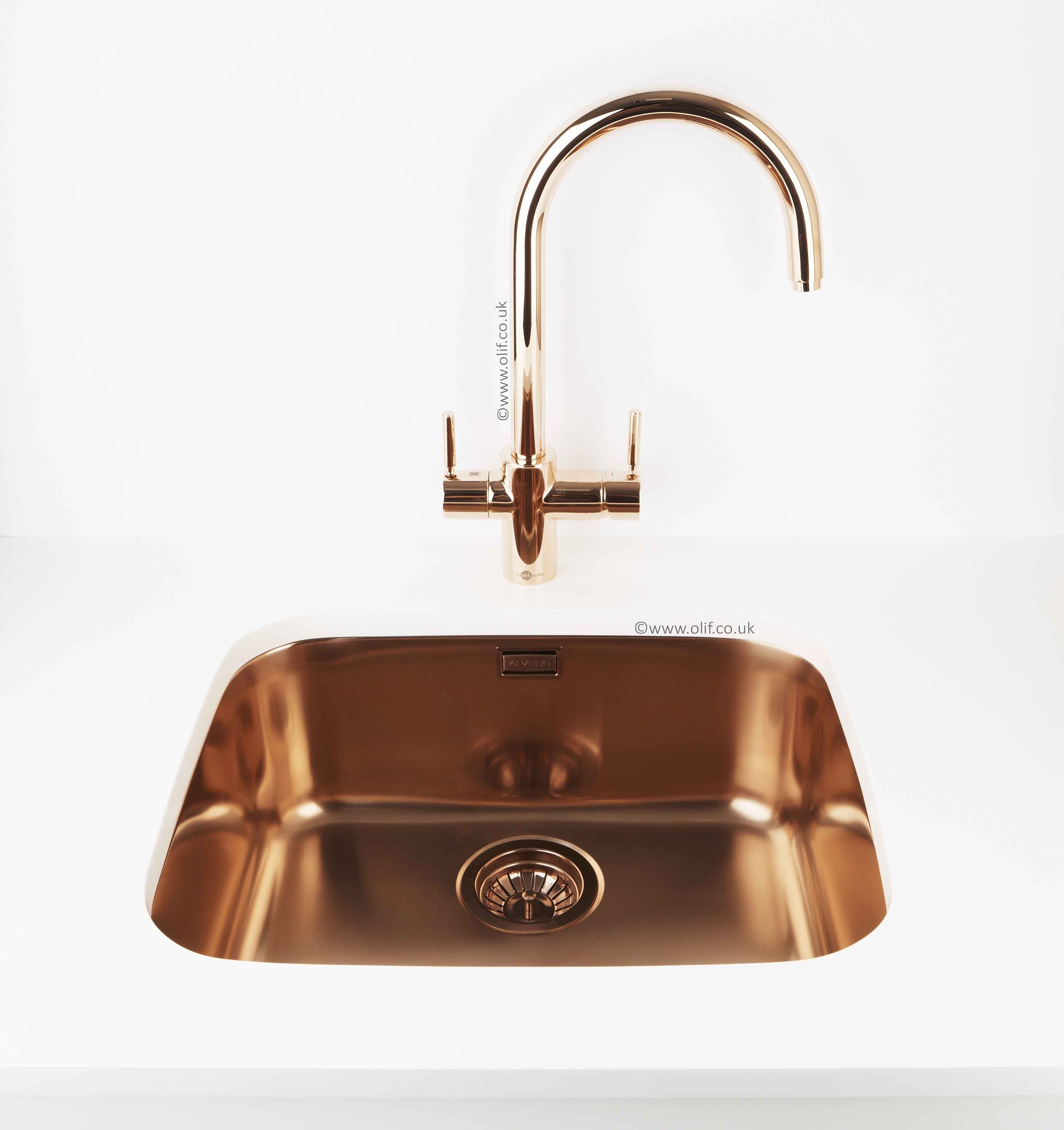 Rose Gold Insinkerator And Variant 10 Copper Undermount Sink Make For A Luxurious Combo Making A Cuppa Has N Water Tap Stainless Steel Tanks Rose Gold Kitchen