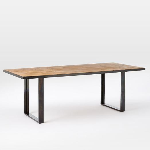 Industrial Oak Steel Dining Table 68in Waxed Oak Hot Rolled Steel
