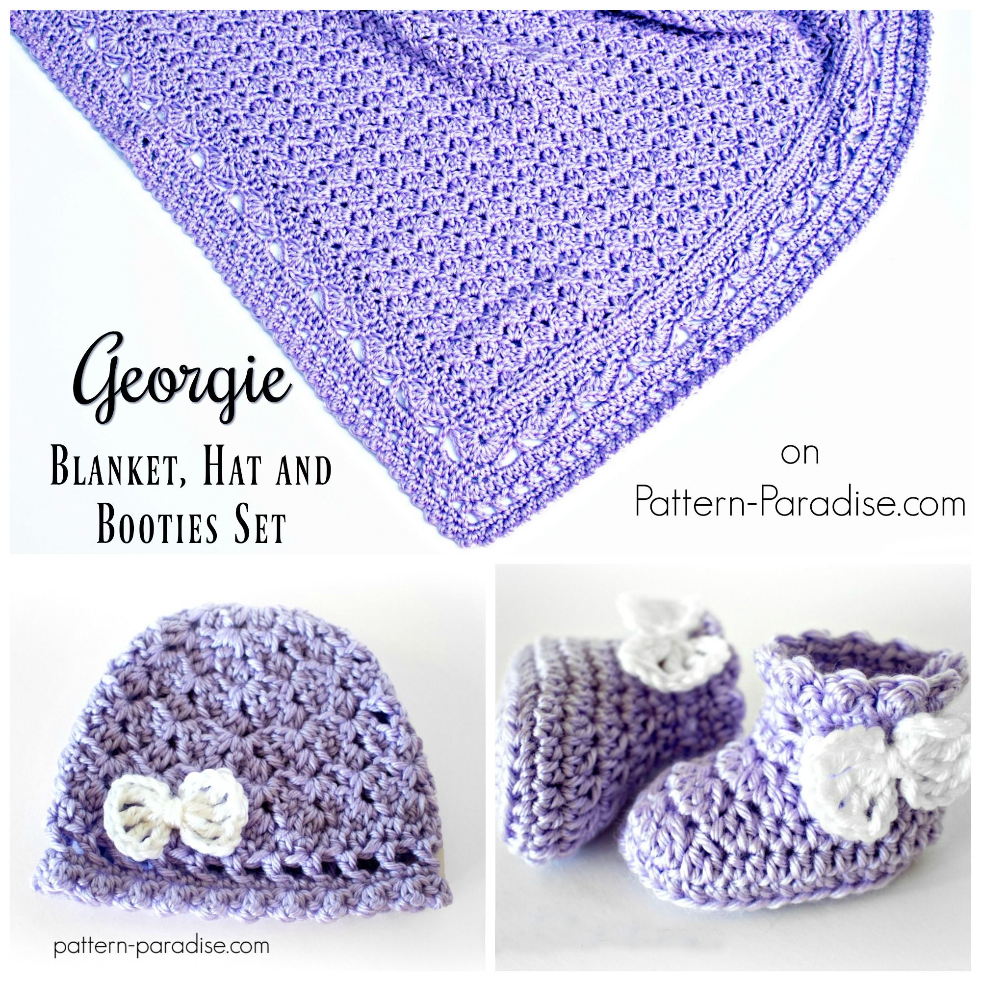 Crochet Pattern  Georgie Hat and Booties Set  fe5888c02260
