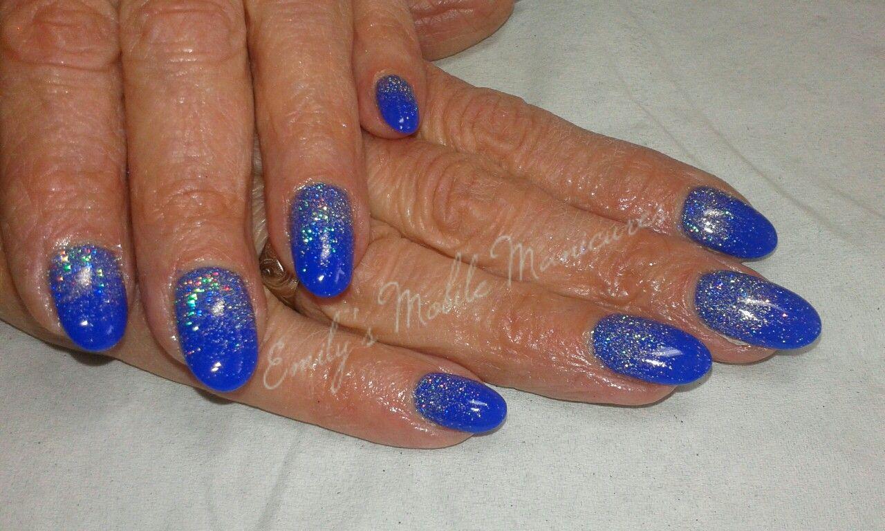 CND Shellac Blue Eyeshadow with Spark glitter fade | nails ...