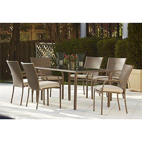 cosco lakewood woven resin 7pc rectangular glass top dining set in rh pinterest com