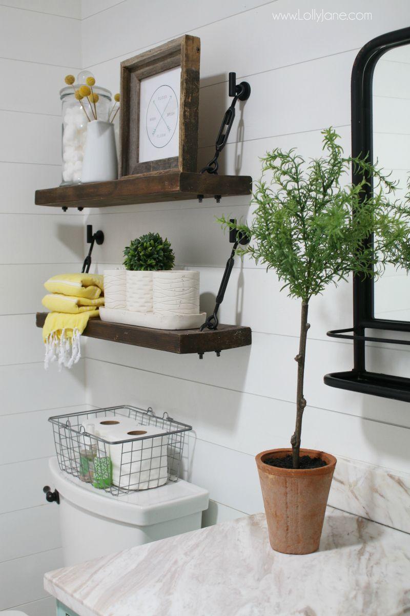 These DIY Turnbuckle Shelves in this farmhouse bathroom