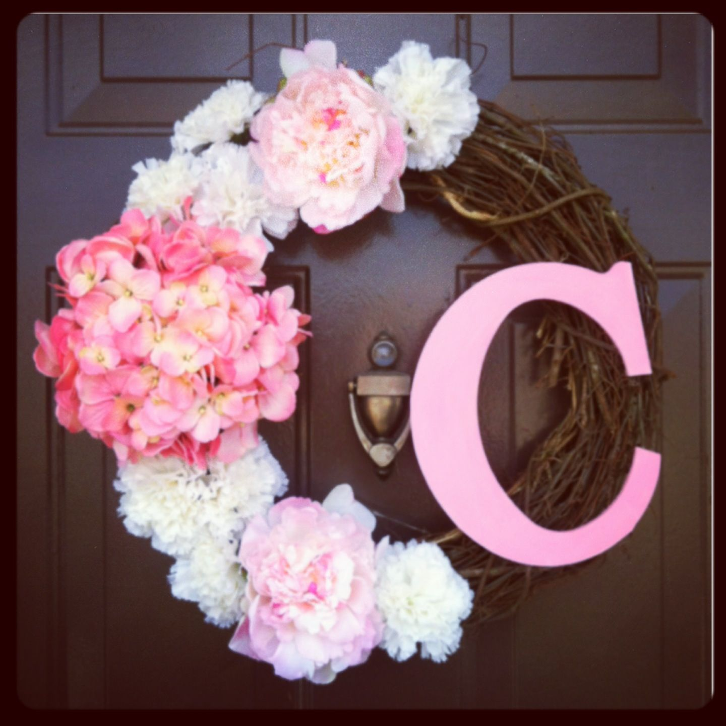 Hot Glue Fake Flowers And Wood Letter Painted To Match Onto A