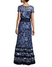 Block Striped Floral Embroidered Gown