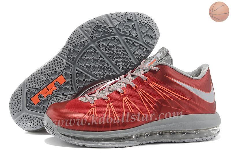 Nike Air Max Lebron 10 Low Rouge Gris Orange  c685a8ea8b8a