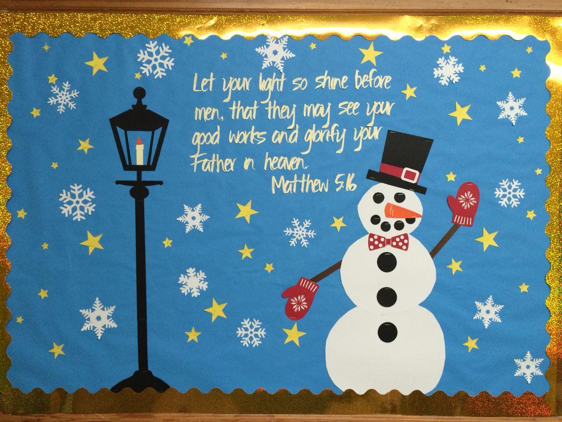 Winter Church Bulletin Board Snowman Christmas Boards