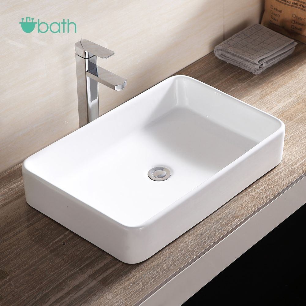 Rectangle Bathroom Sink Bowl Vessel Basin With Pop Up Drain White
