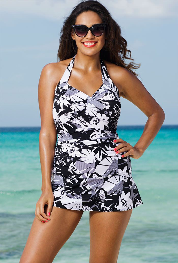 Swimsuits For All Womens Plus Size Twist-Front Swim Dress