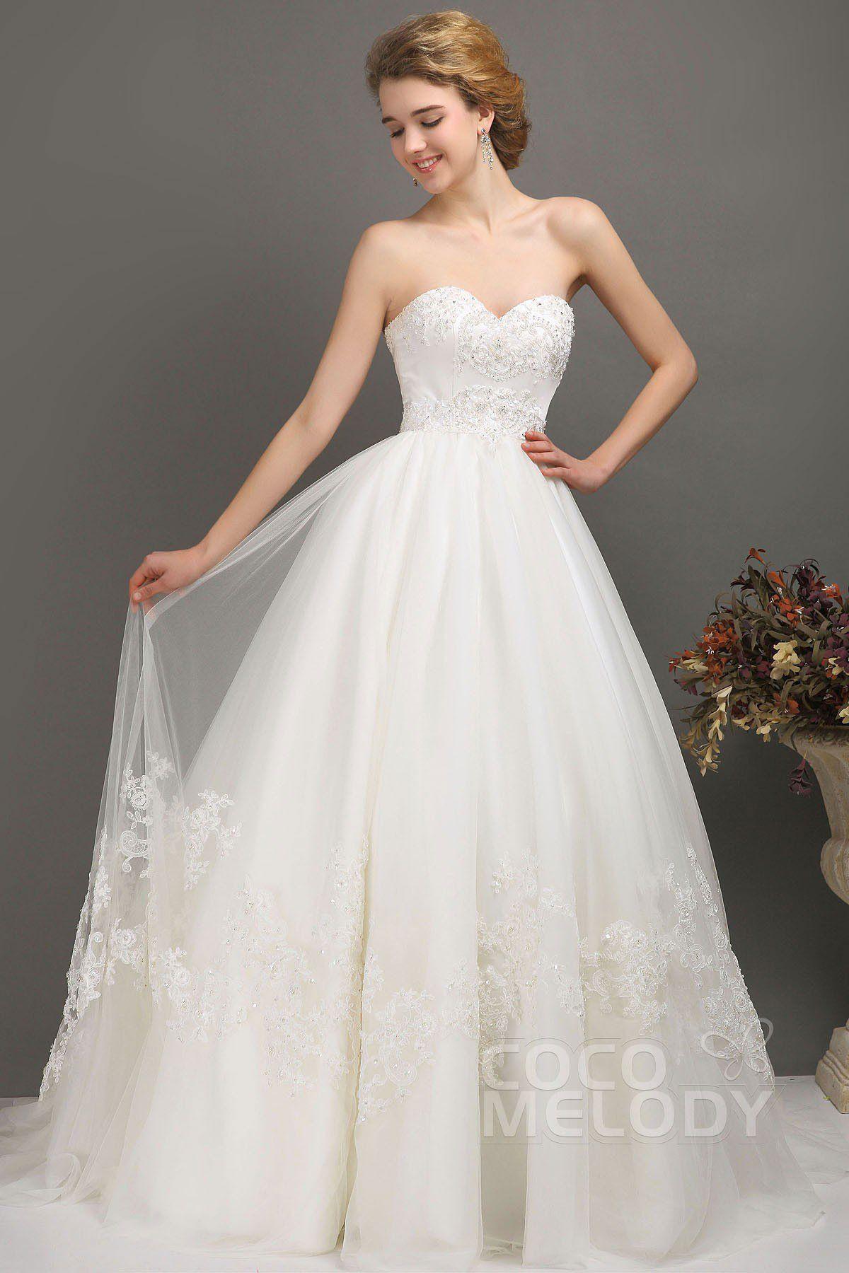 ALine Chapel Train Tulle Wedding Dress CWLT13041