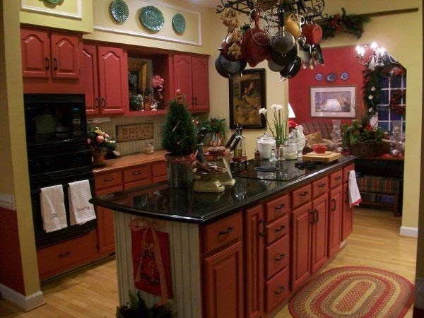 Country Red & Gold Kitchen | For the love of Kitchens ...