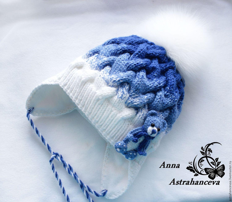 купить шапка детская вязаная арктика с переходом цвета и меховым