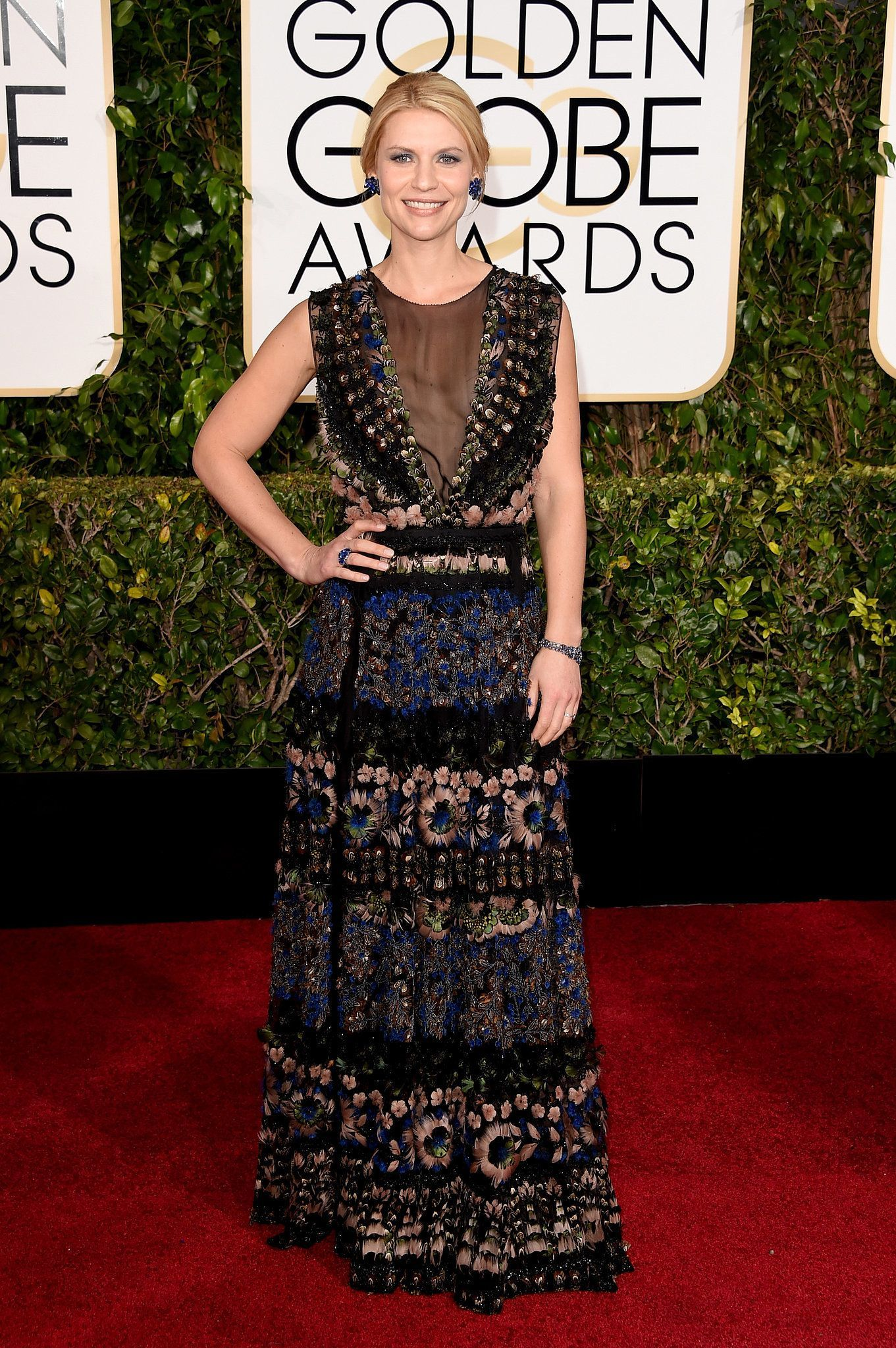 Claire danes in this valentino at the golden globes valentino