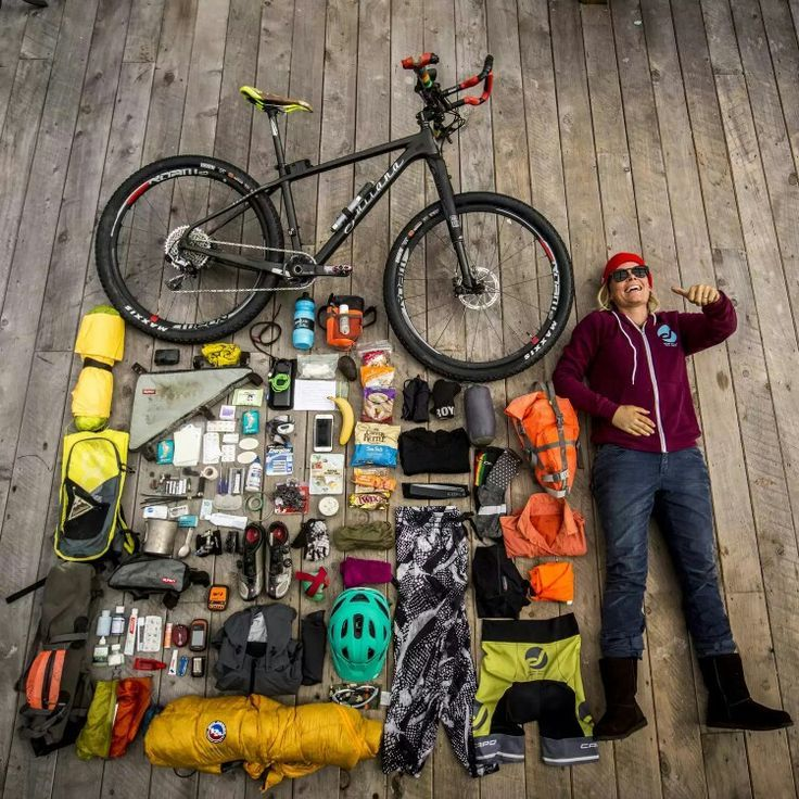No link, but a good pic! - Anka Martin's bike tour packing list | Bicycle, Bike camping, Bike
