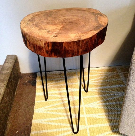 Round Wood Hairpin Coffee Table: Natural Live Edge Round Slab Side Table / Night Stand With