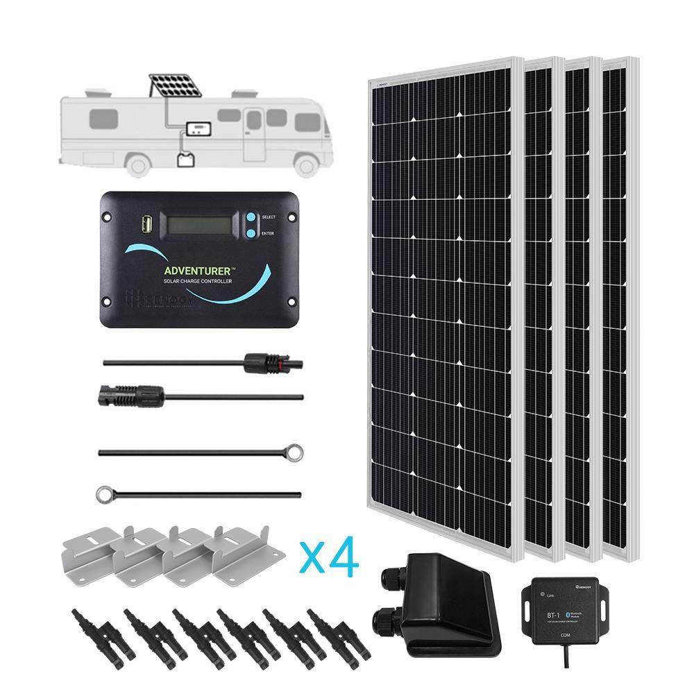 Renogy 400 Watt 12 Volt Monocrystalline Solar Rv Kit For Off Grid Solar System Solar Panels Best Solar Panels Solar Panel Installation
