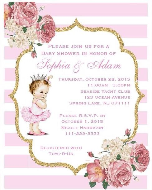 little princess baby shower invitations(caucasian/african american, Baby shower invitations